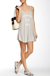 Wildfox Couture Shopping Is My Cardio Slip Dress Gray