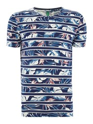 United Colors Of Benetton Floral Stripe Crew Neck T Shirt Blue