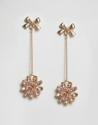 Asos Jewel Bow Strand Earrings Peach Pink