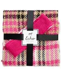 Echo Plaid Scarf And Boucle Headband Gift Set Pink Raspberry