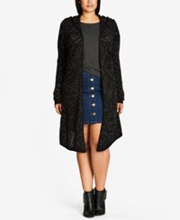 City Chic Trendy Plus Size Hooded Duster Cardigan Charcoal