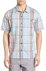 Patagonia Men's 'Puckerware' Regular Fit Check Short Sleeve Sport Shirt Tubular Blue