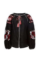 Cynthia Rowley Black Embroidered Linen Blouse