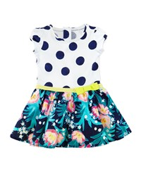 Catimini Polka Dot And Floral Print Combo Dress White Multicolor