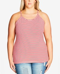 City Chic Plus Size Striped Tank Top Red