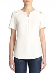 Cooper And Ella Cutout Short Sleeve Blouse White