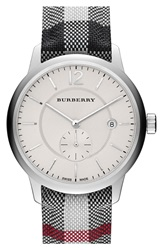 Burberry Textured Dial Watch 40Mm Stone Silver