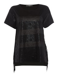 Replay Snakeskin Print T Shirt Black