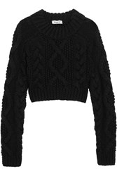 Dkny Open Back Cable Knit Merino Wool Sweater Black