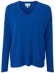 Pure Collection Barrowby Cashmere Relaxed V Neck Sweater Oxford Blue