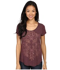 Lucky Brand Golden Tile Tee Malbec Women's T Shirt Purple