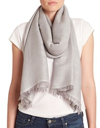 Lord And Taylor Shimmer Frayed Scarf Light Grey