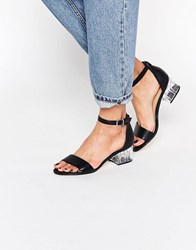 Truffle Collection Clear Heel Strap Sandal Black