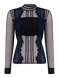 Endless Rose Long Sleeved Chiffon Embroidered Blouse Black