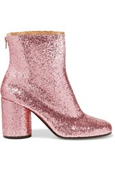 Maison Martin Margiela Suede Trimmed Glittered Leather Ankle Boots Baby Pink