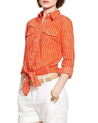 Lauren Ralph Lauren Tie Front Stripe Shirt Cabana Orange White