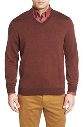 Men's Bobby Jones Merino Wool V Neck Sweater Brown
