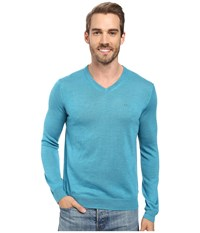 Calvin Klein Merino Moon And Tipped V Neck Sweater Island Water Heather Men's Sweater Blue