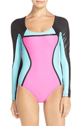 Pilyq Colorblock Long Sleeve One Piece Swimsuit Neo Block