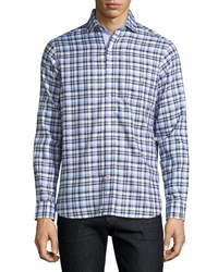 Psycho Bunny Plaid Oxford Cotton Sport Shirt Navy