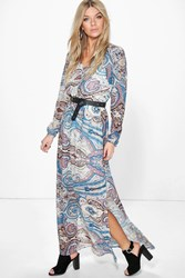 Boohoo Multi Paisley Cage Back Maxi Dress Multi