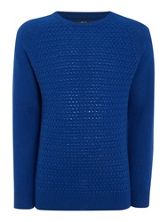 Criminal Textured Crew Neck Pull Over Jumpers Cobalt