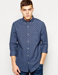 Solid Brushed Flannel Shirt With Paisley Print Blue