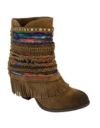 Naughty Monkey Poncho Suede Ankle Boots Tan