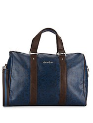 Robert Graham Paisley Print Faux Leather Duffle Bag Blue