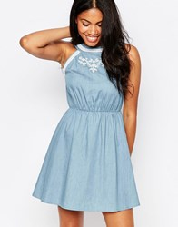 Influence Embroidery Chambray Dress With Cut Out Back Denim Blue