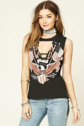 Forever 21 Born Wild Lace Up Tee Black White