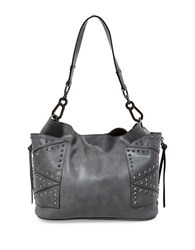 Steve Madden Kyrah Studded Faux Leather Hobo Bag Grey