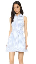 Milly Breton Stripe Sleeveless Shirtdress Blue