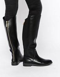Pull And Bear Pullandbear Flat Knee High Boots With Zip Back Black
