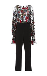 Osman Embroidered Long Sleeve Jumpsuit Black