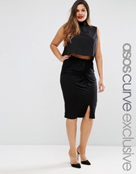 Asos Curve Pencil Skirt With Knot Detail Black