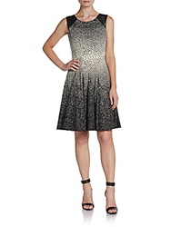 Saks Fifth Avenue Red Printed Faux Leather Accented Dress Black White