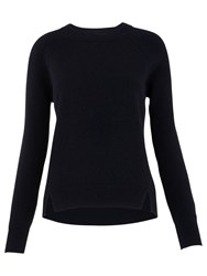 Whistles Ribbed Sleeve Cashmere Jumper Navy
