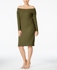 Ing Trendy Plus Size Off The Shoulder Sweater Dress Only At Macy's Olive