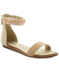 Nanette By Nanette Lepore Marianne Embellished Ankle Strap Flat Sandals Women's Shoes Dusty Pink