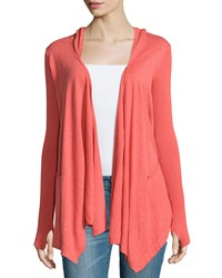 Minnie Rose Cotton Hooded Open Front Duster Cardigan Coral