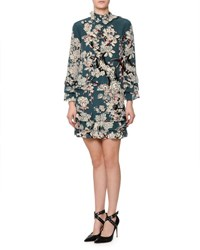 Valentino Long Sleeve Tiered Floral Print Dress Teal Blue Giada