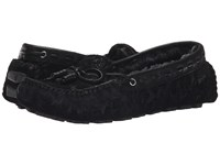 Trask Sophie Shearling Black Tooled Suede Women's Slip On Shoes