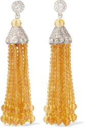Kenneth Jay Lane Tasseled Silver Tone Amber And Crystal Earrings Yellow