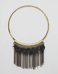 Ny Lon Nylon Statement Feather Necklace Brass Black