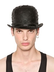 Move Ostrich Effect Woven Straw Bowler Hat