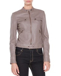 Tomas Maier Leather Zip Front Jacket Dust