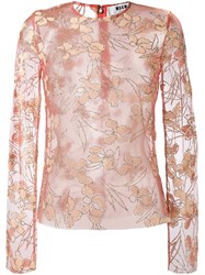Msgm Sheer Floral Blouse Pink And Purple