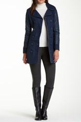 Vertigo Quilted Faux Leather Sleeve Double Breasted Coat Blue