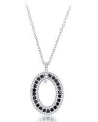 Diana M. Jewels 18K Black And White Diamond Oval Pendant Necklace 1.63Tcw